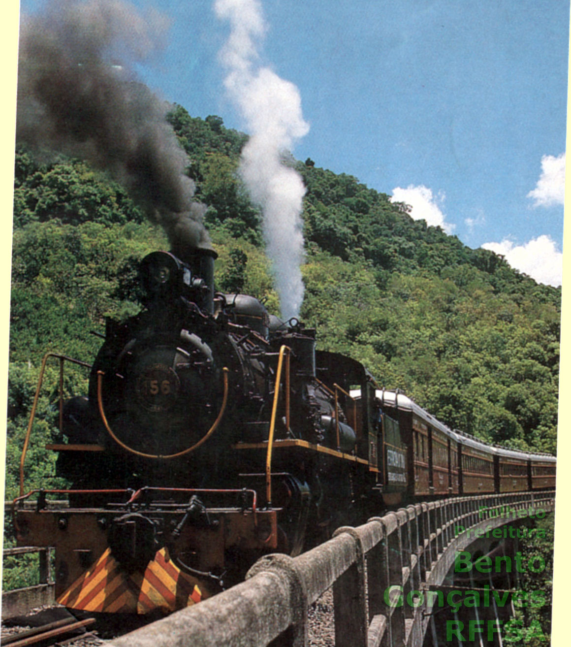 6899164aadd9d Foto de capa do antigo folheto da Ferrovia do Vinho, produzido pela  Prefeitura Municipal de