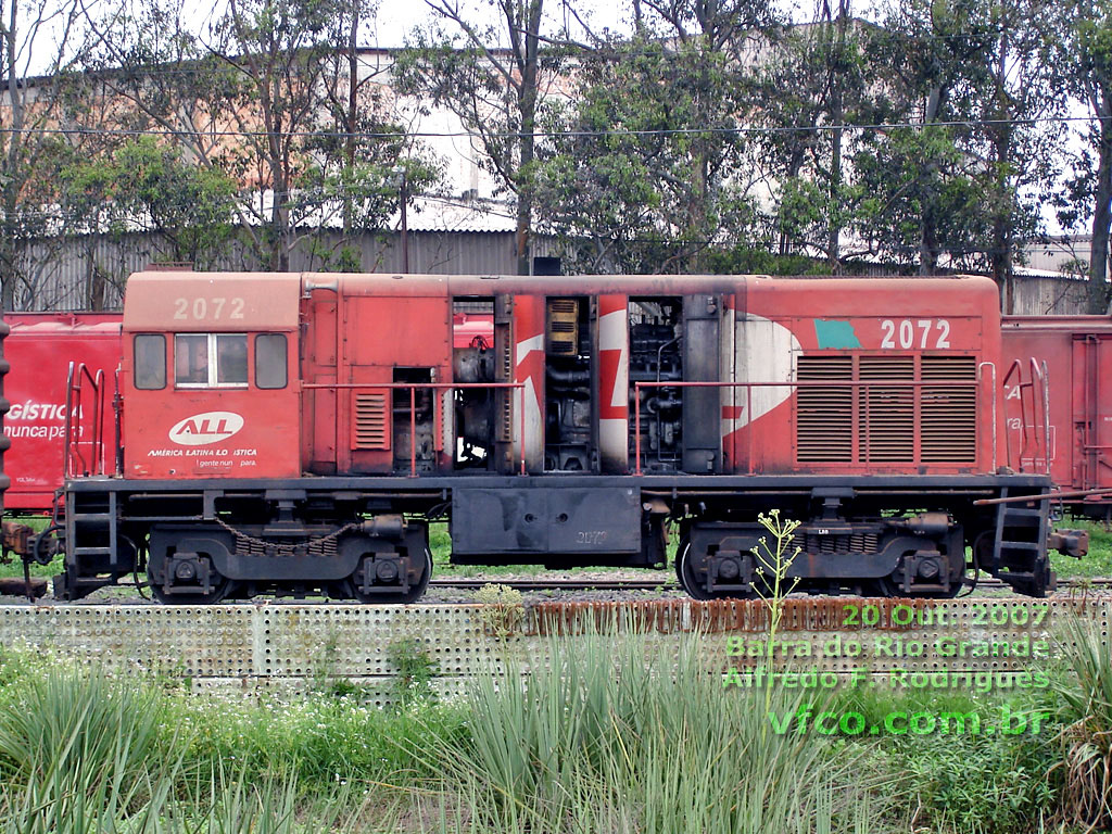 Locomotiva GE U5B nº 2072 ALL na Barra do Rio Grande