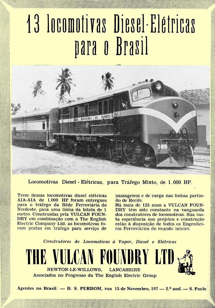 As locomotivas English Electric em anúncio de The Vulcan Foundry Ltd., de 1957