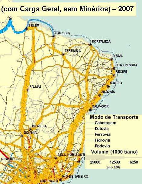 Estimativa de carga geral transportada em 2007
