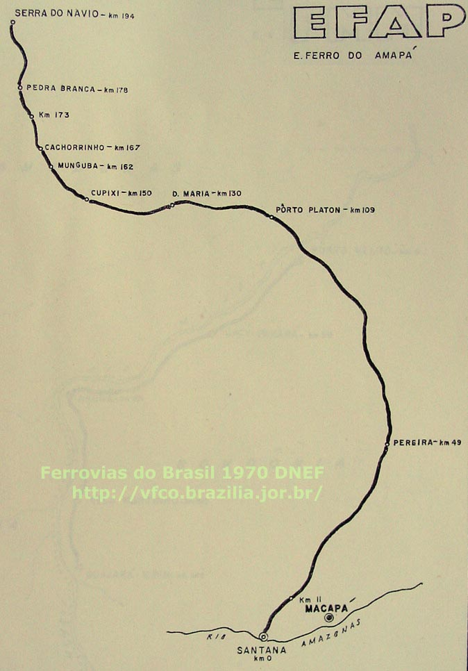 Mapa da Estrada de Ferro do Amapá em 1970