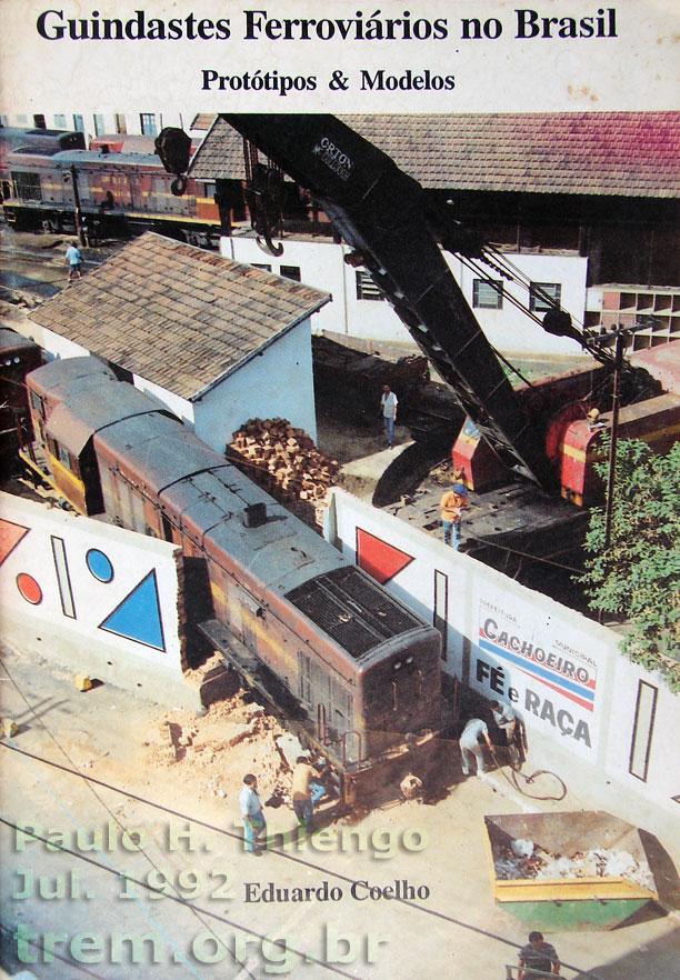 """Capa do livro """"Guindastes ferroviários no Brasil"""", de 1994"""