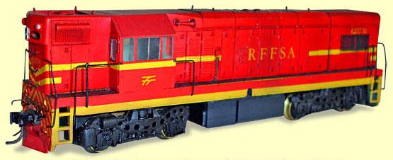 O ferreomodelo de locomotiva G12 da Hobbytec Modelismo, depois de pronto, com detalhamento e pintura