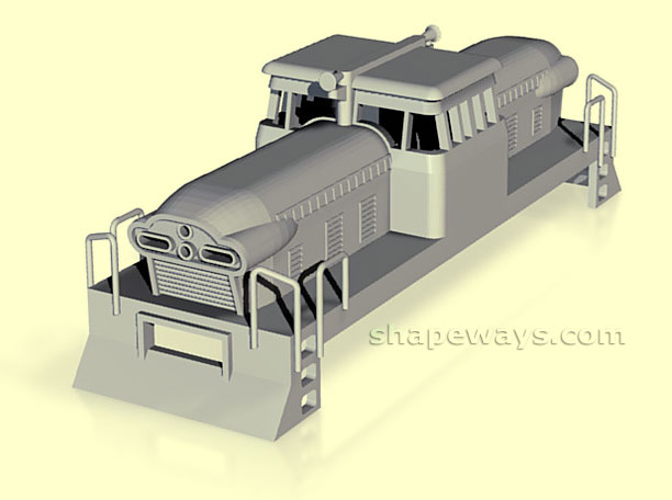 Maquete virtual (AutoCAD) do ferreomodelo 1:87 de locomotiva GMDH-1 oferecido pela Shapeways